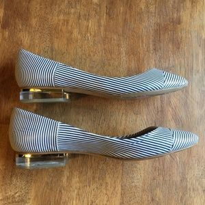 Zara Striped Flats With Heel Sz: 37